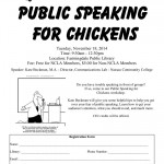 Public Speaking for Chickens, November 18th