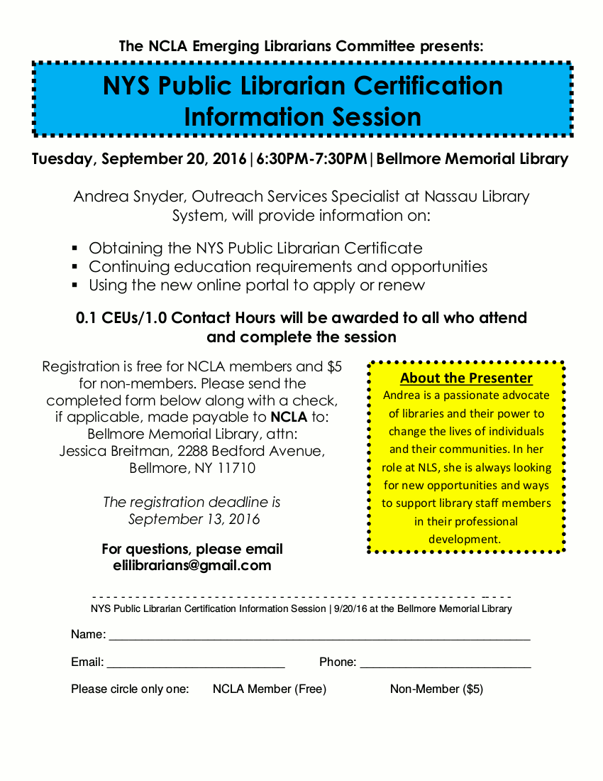Nys Public Librarian Certification Information Session September