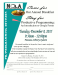 December 8th, PR Programming Division Annual Breakfast
