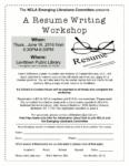 Resume Writing Workshop, June 16