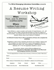 Resume Writing Workshop Flyer.  Resume Writing Workshop