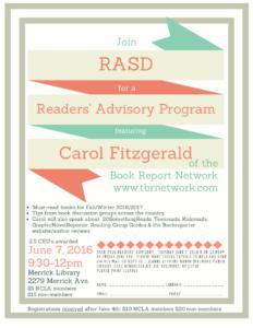 Readers' Advisory Event Flye.