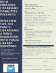 Interview Tips for Public Librarians: A Panel Discussion with Public Library Directors, May 18th