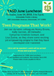 "June 14th, YASD June Luncheon: ""Teen Programs That Work!"""