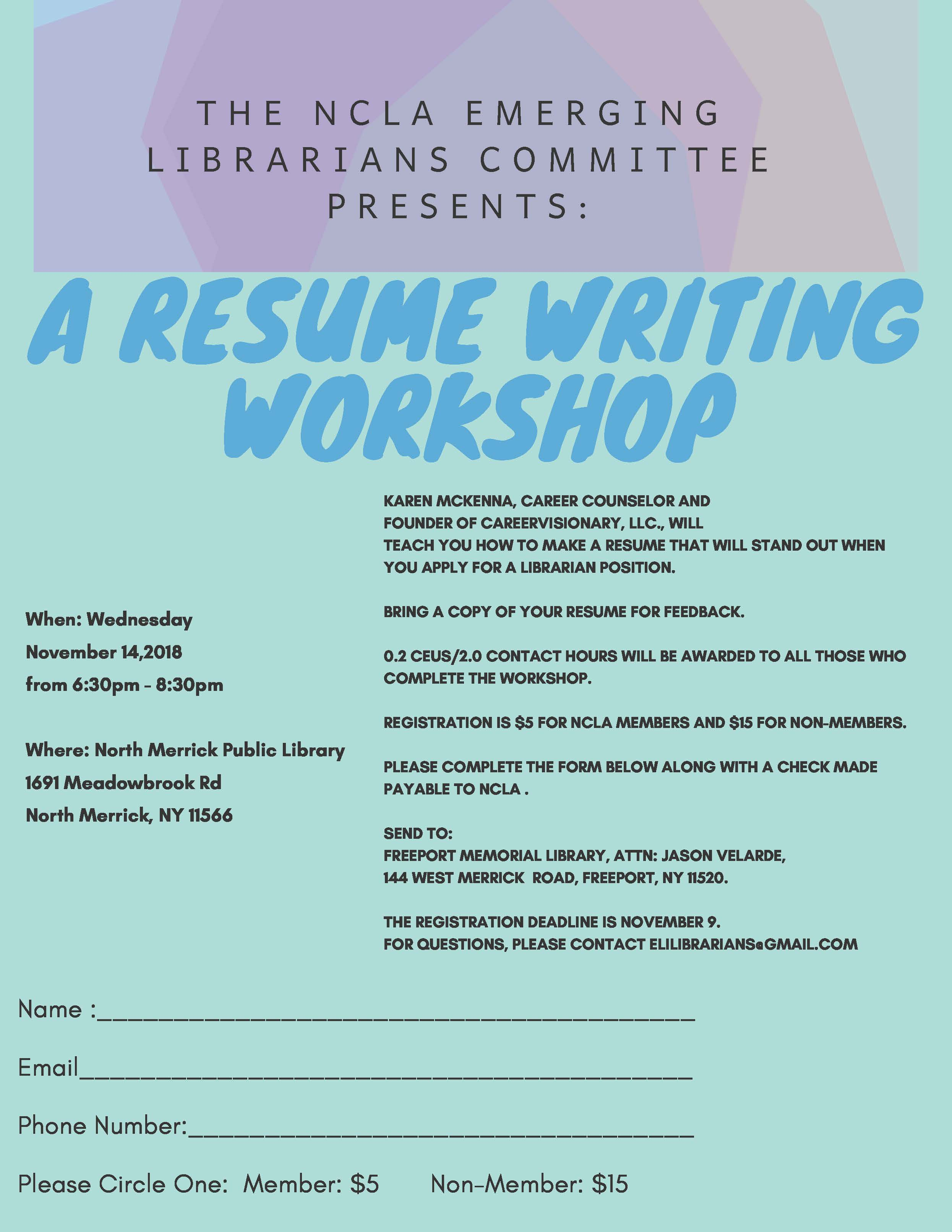 ncla emerging librarians committee presents a resume writing