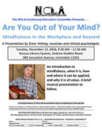 Postponed – 'Are You Out of Your Mind?': Mindfulness in the Workplace and Beyond